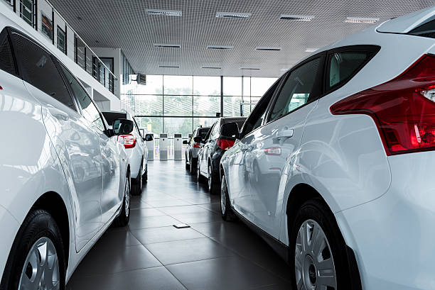 Stock of cars in showroom of automobile dealer
